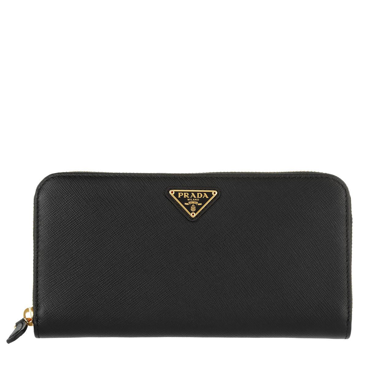 Prada Portemonnaie - Classic Zip Wallet Saffiano Logo Triangolo Nero - in schwarz - für Damen