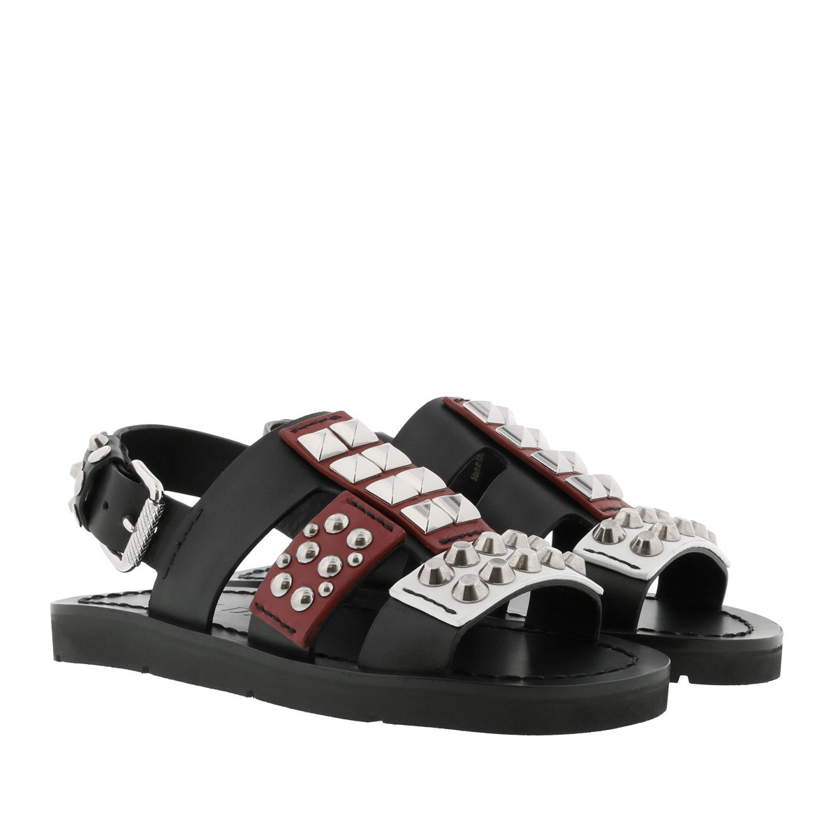 Prada Sandalen - Studded Sandals Nero/Scarlatto - in schwarz - für Damen