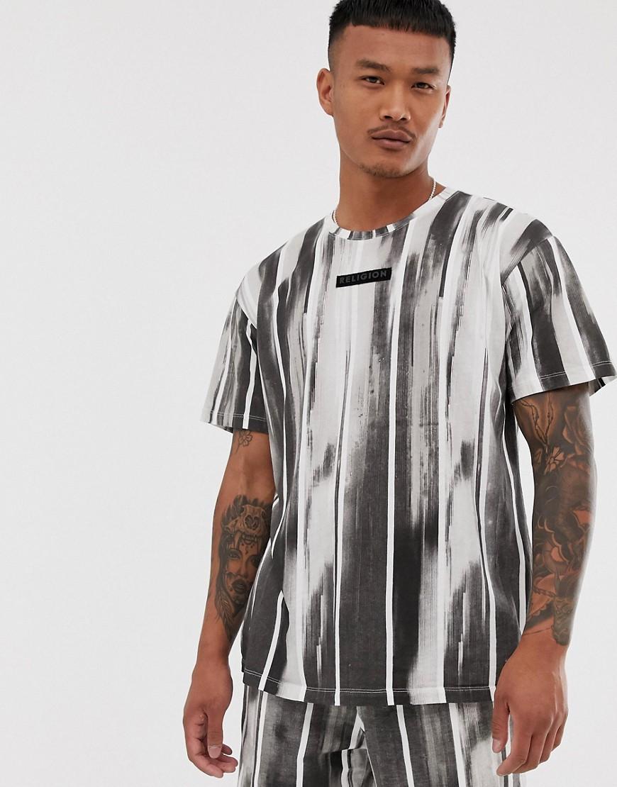 Religion - Kombiteil - Schwarzes T-Shirt in lässiger Passform mit gebürstetem Streifenmuster - Schwarz