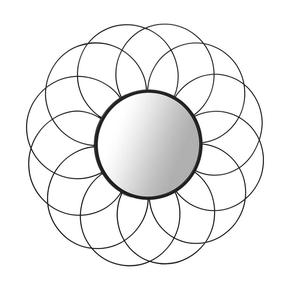 Runder Wandspiegel im Blumen Design Schwarz Metall