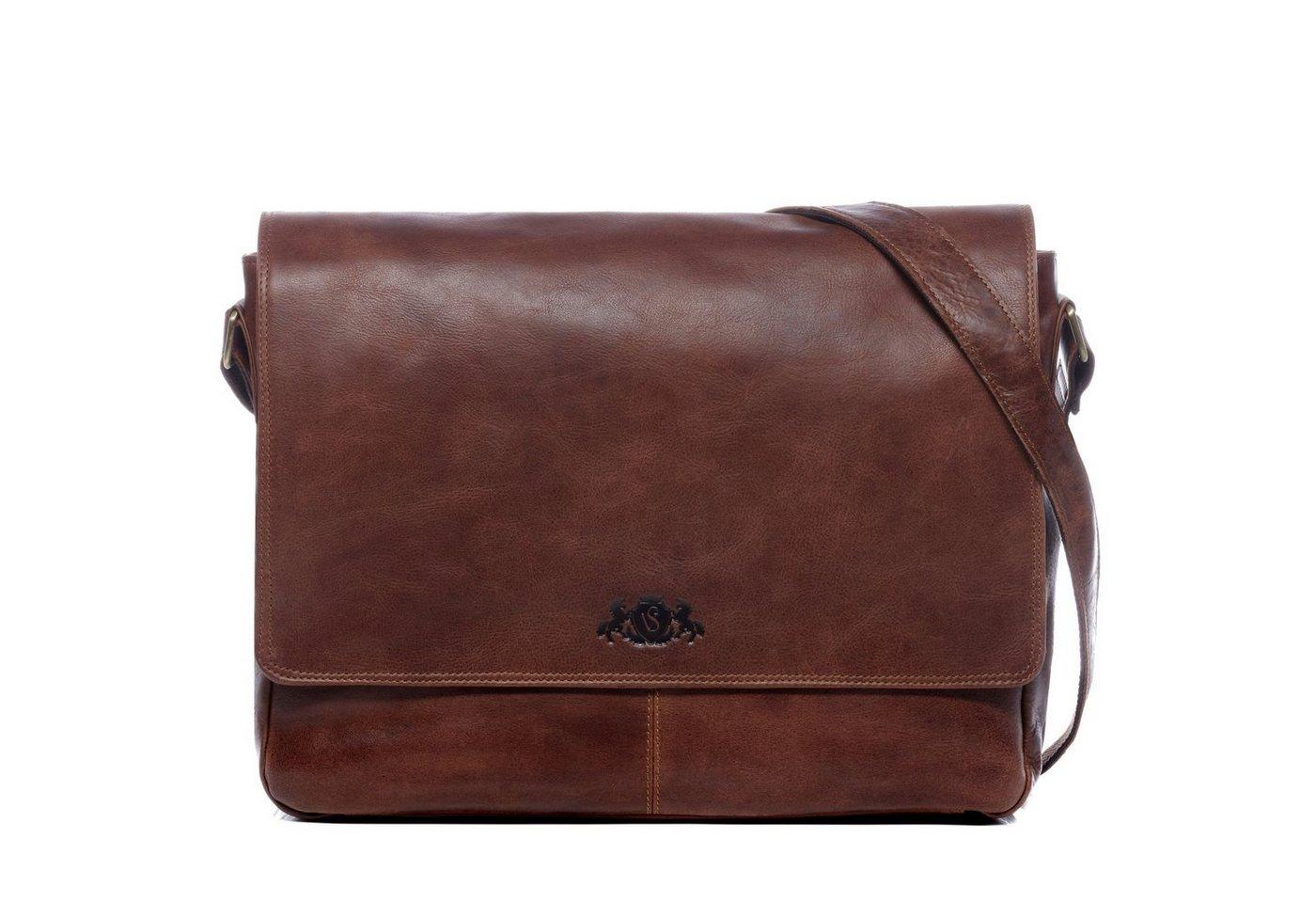 "SID & VAIN Messenger Bag ""SPENCER"", Umhängetasche Laptoptasche 15 Zoll Herren echt Leder Vintage braun"