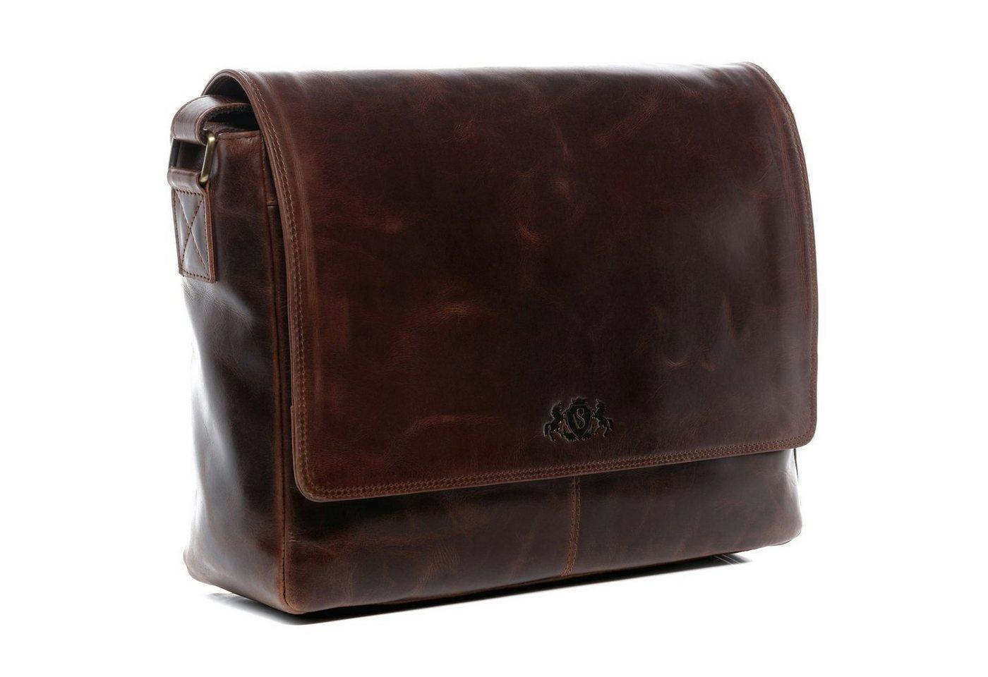 """SID & VAIN Messenger Bag """"SPENCER"""", Umhängetasche Laptoptasche 15 Zoll Herren echt Leder braun"""