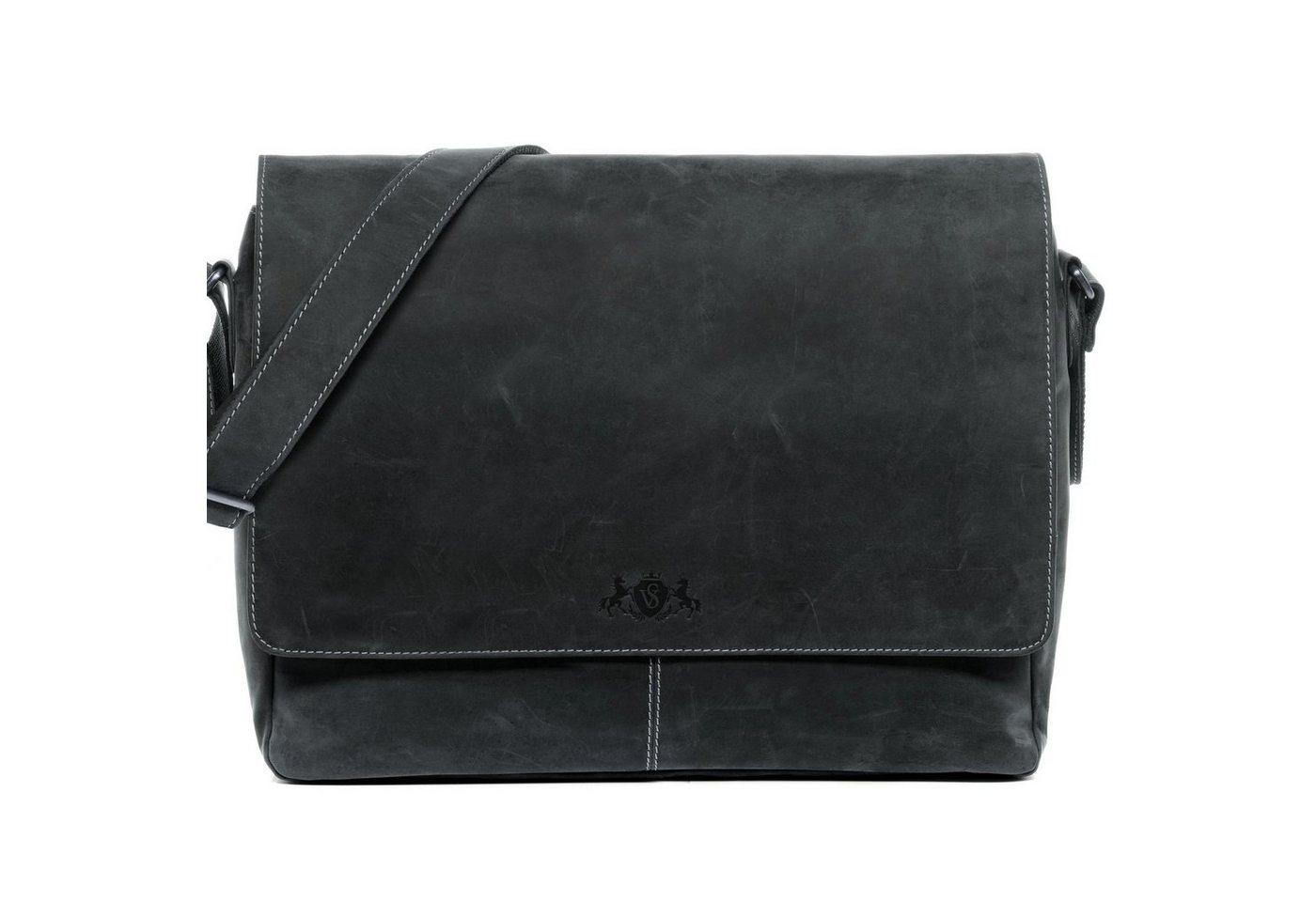"""SID & VAIN Messenger Bag """"SPENCER XL"""", Umhängetasche Laptoptasche 15 Zoll Herren echt Leder Vintage schwarz"""