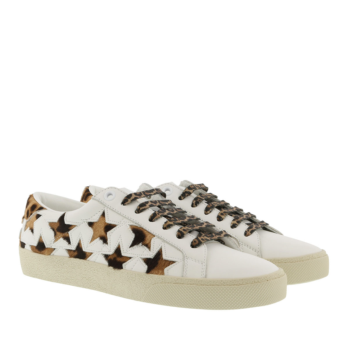 Saint Laurent Sneakers - Court Classic Leopard California Sneaker Leather Optic White - in weiß - für Damen