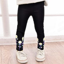 Toddler Girls Floral Embroidered Leggings
