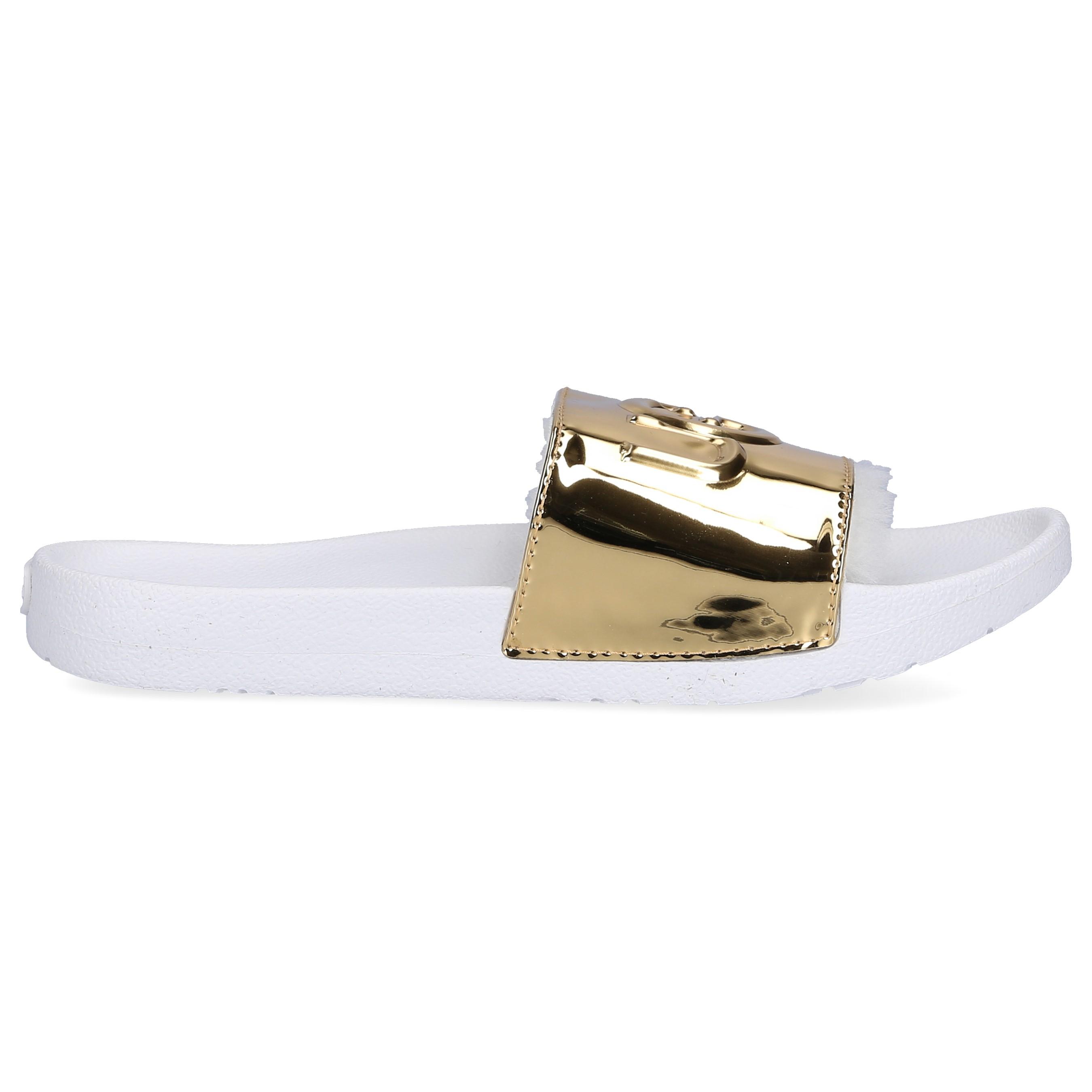UGG Sandalen ROYALE Lackleder Logo gold weiß