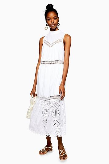 Ärmelloses Kleid mit Lochstickerei Petite-Größe - Elfenbein