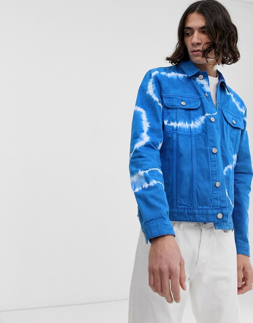 ASOS DESIGN - Blaue Jeansjacke im Batik-Look - Blau
