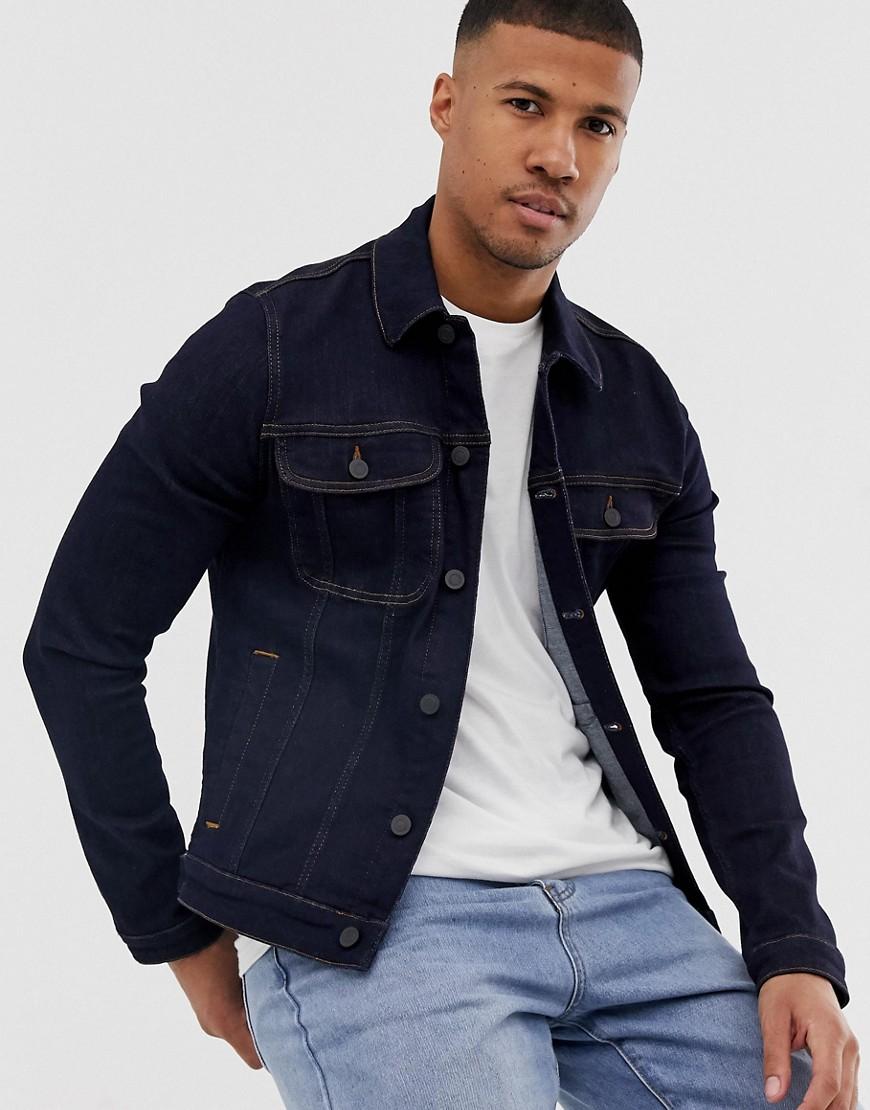 ASOS DESIGN - Enge Western-Jeansjacke in dunkler Waschung - Blau