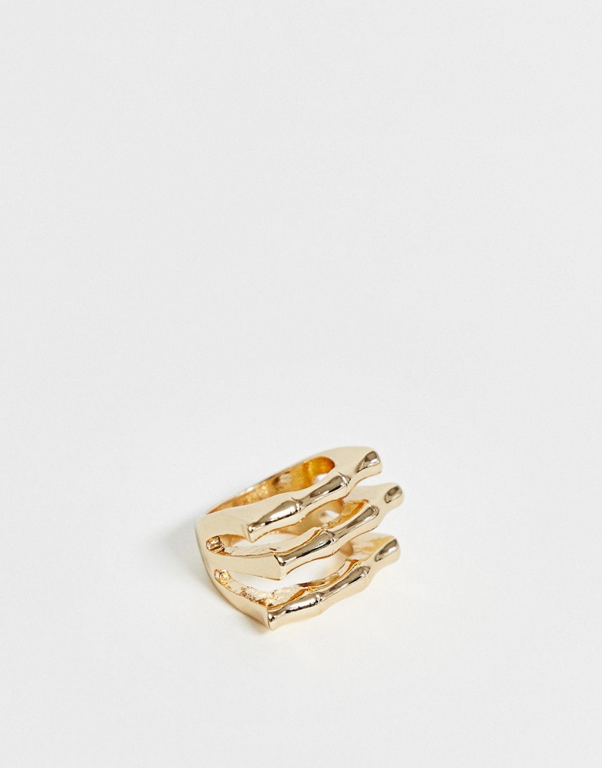 ASOS DESIGN - Goldener Ring mit geschichtetem Bambus-Design - Gold