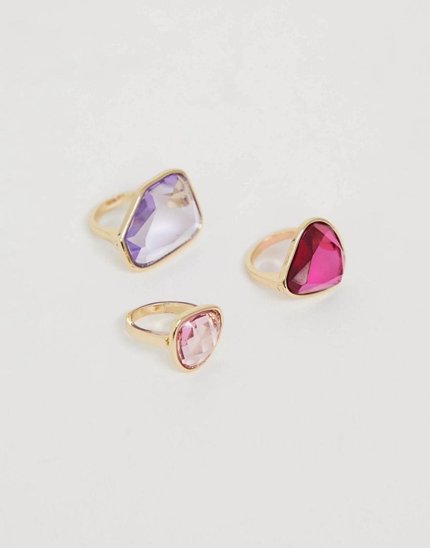 ASOS DESIGN - Goldfarbene Ringe mit transparenter Verzierung aus Harz in Rosa