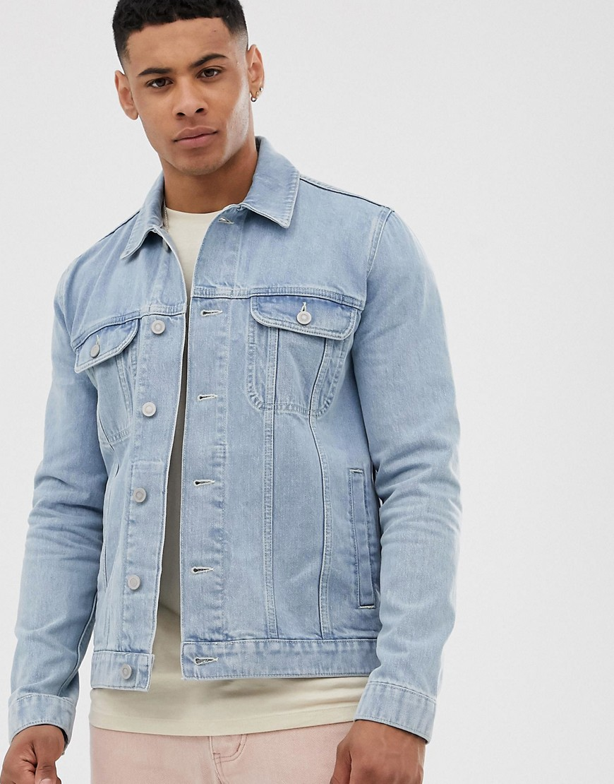 ASOS DESIGN - Jeansjacke mit heller Waschung