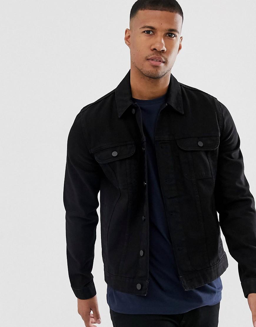 ASOS DESIGN - Schwarze Jeansjacke in normaler Passform - Schwarz