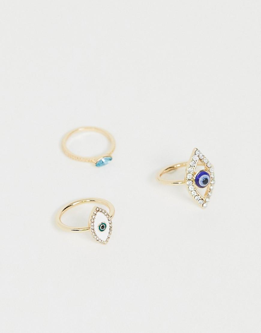 ASOS DESIGN - Set aus 3 goldfarbenen Ringen mit Augendesign - Gold
