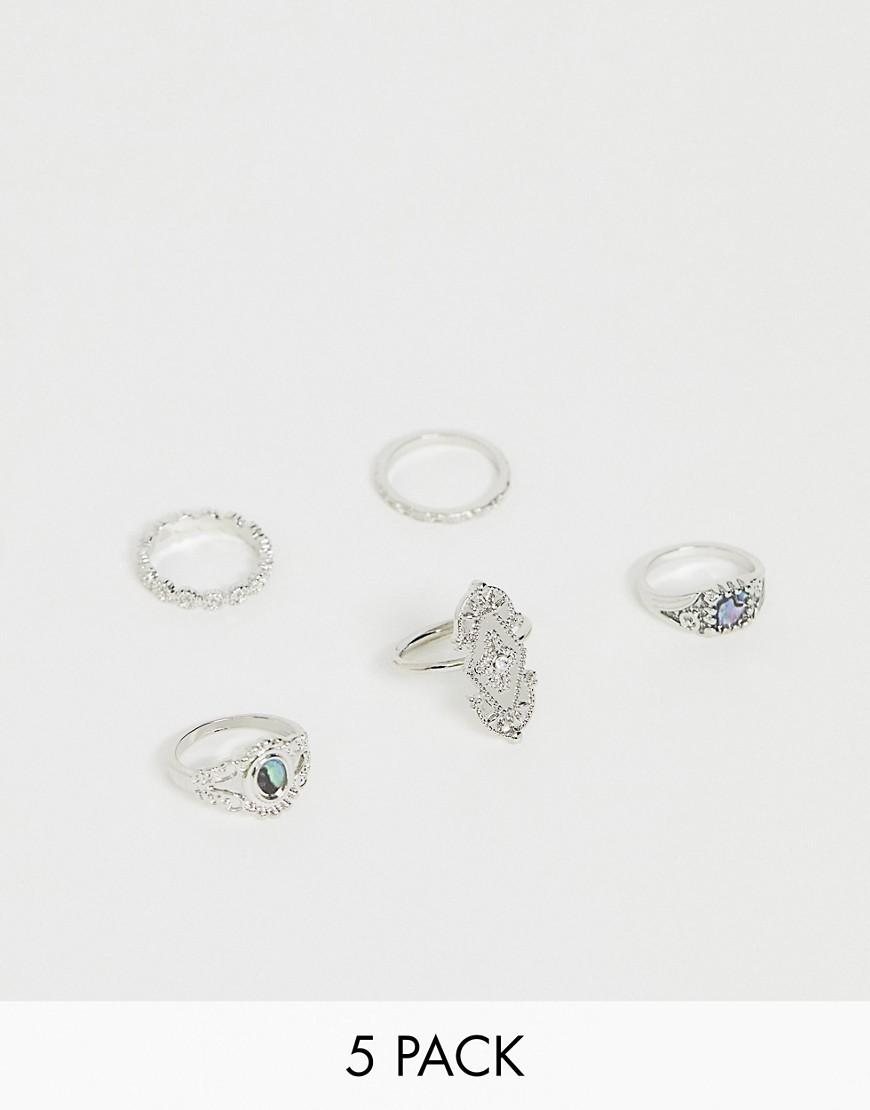 ASOS DESIGN - Set aus 5 silberfarbenen Ringen mit Steinen im Abalonestil - Silber