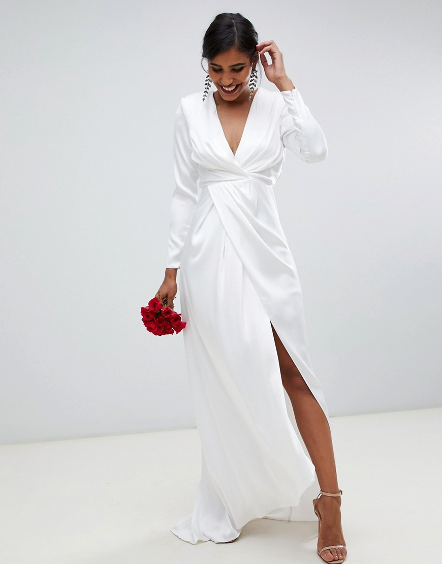 asos edition - brautkleid aus satin mit tiefem ausschnitt