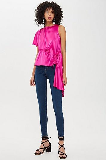 Asymmetrische Satinbluse - Pink
