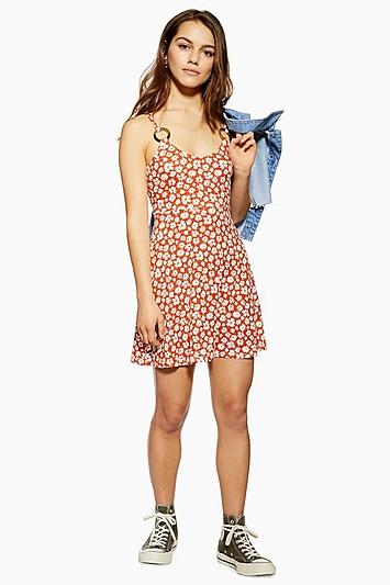 Ausgestelltes Kleid mit Print und Hornringen Petite-Größe - Rost