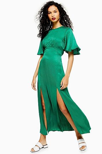 Austin Jacquard-Kleid - Grün