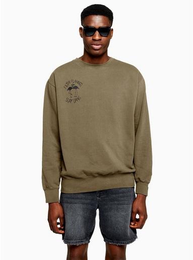 BLAUDUVIN DESIGN Sweatshirt mit Print auf der Brust, grau, BLAU