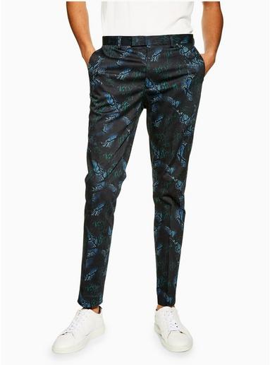 BLAUEnge Hose mit Schlangen-Print, BLAU