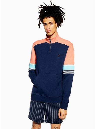 BLAUFARAH Sweatshirt mit Viertelreißverschluss, BLAU