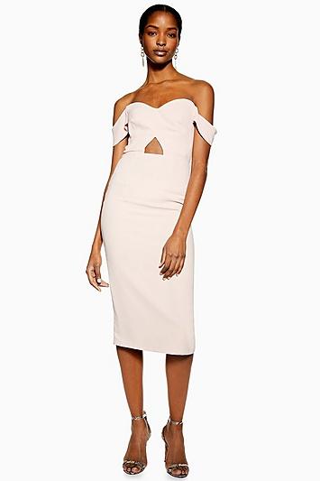 Bardot-Kleid mit Aussparung - Rosé