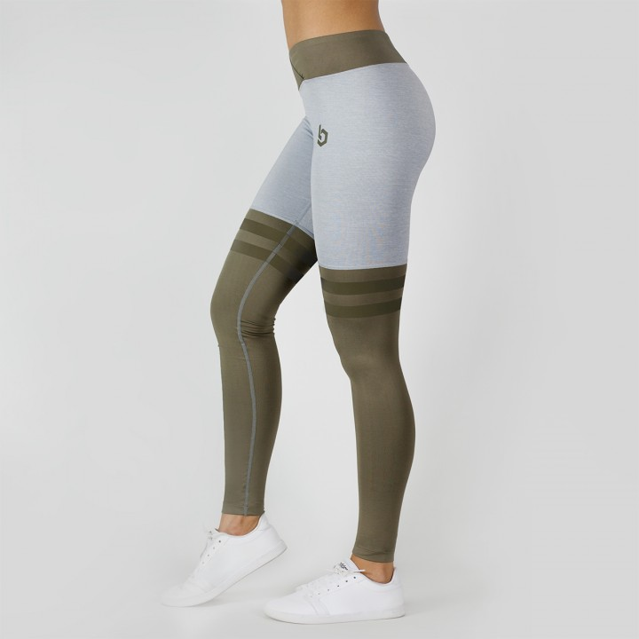 Beyond Limits Overknee Stripe Leggings grau-meliert khaki