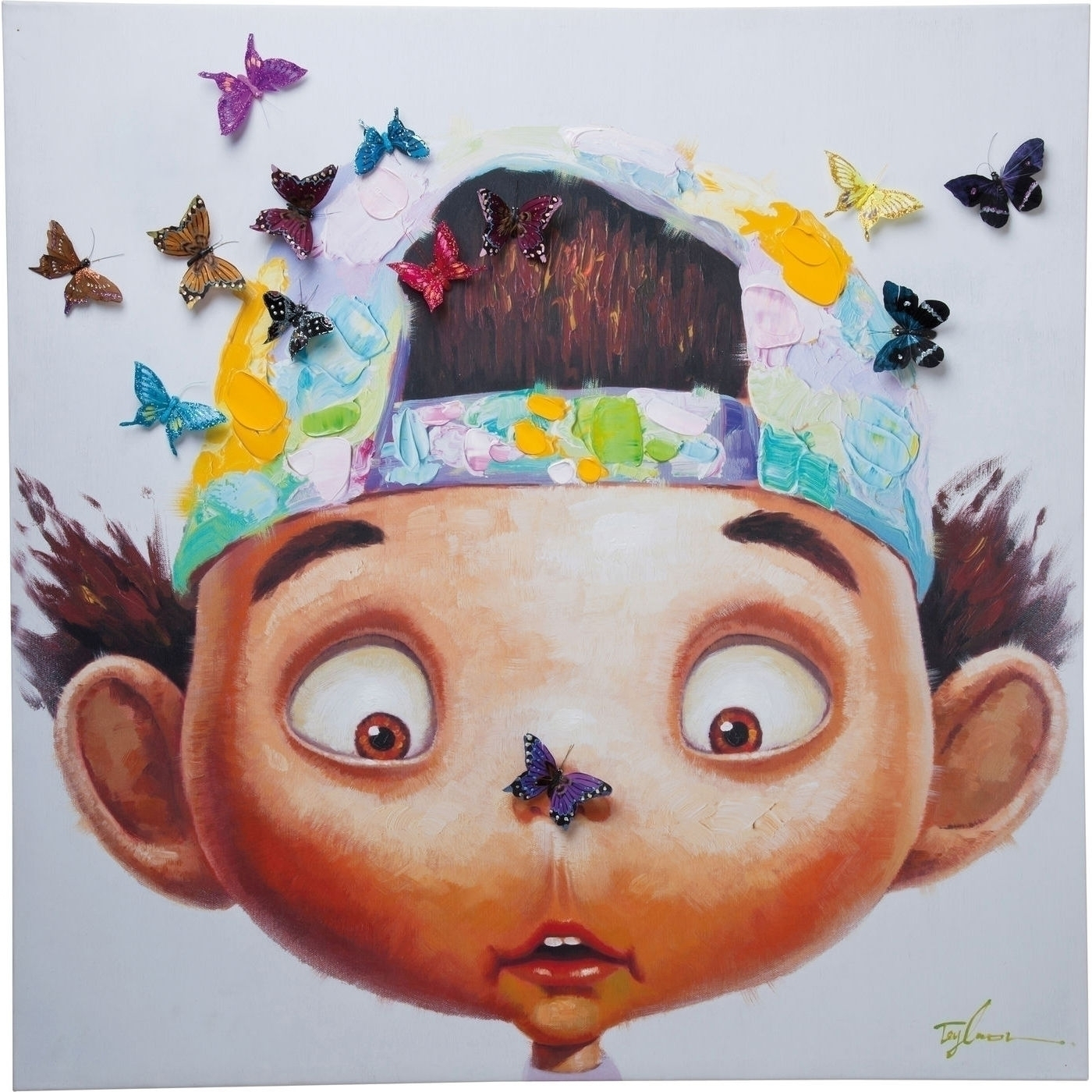 Bild Touched Boy with Butterflys 100x100