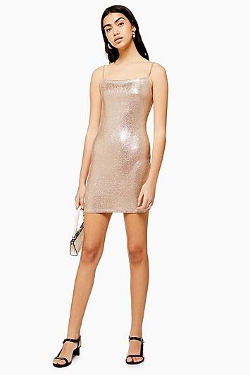 Bodycon-Kleid in MeTallic-Folienoptik - Gold