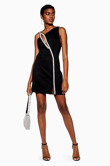 Bodycon-Kleid mit Verzierung - Schwarz