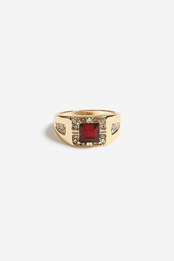 **Breiter Ring mit Siam-Stein - Gold