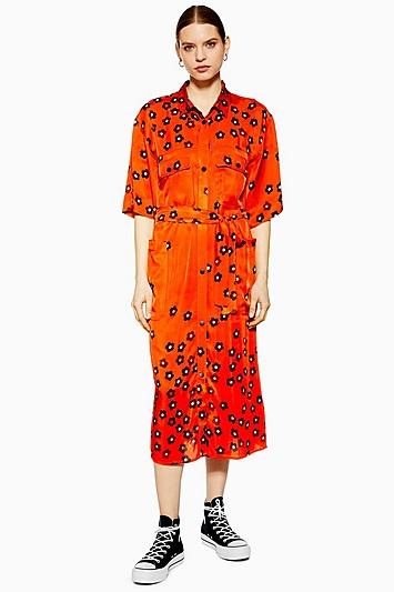 **Cargo-Kleid mit Mohnblumen-Print von Boutique - Schokolade
