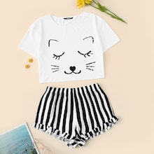 Cat Print Crop Tee & Striped Shorts PJ Set