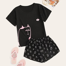Cat Print Top & Shorts PJ Set