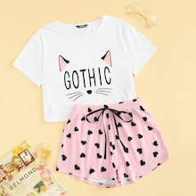 Cat & Letter Print Tee & Heart Shorts PJ Set