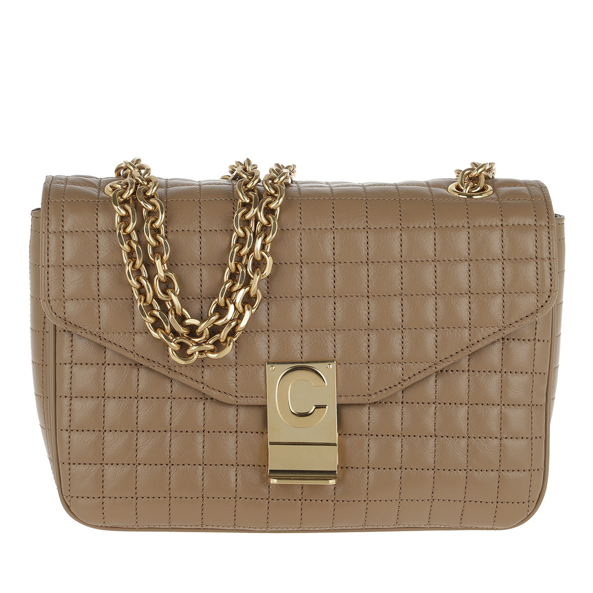 Celine Umhängetasche - C Bag Medium Quilted Calfskin Light Camel - in braun - für Damen