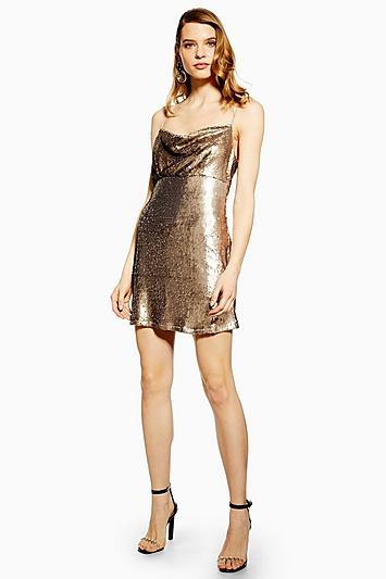 **Champagnerfarbenes Move Closer Kleid von WYLDR - Bronze