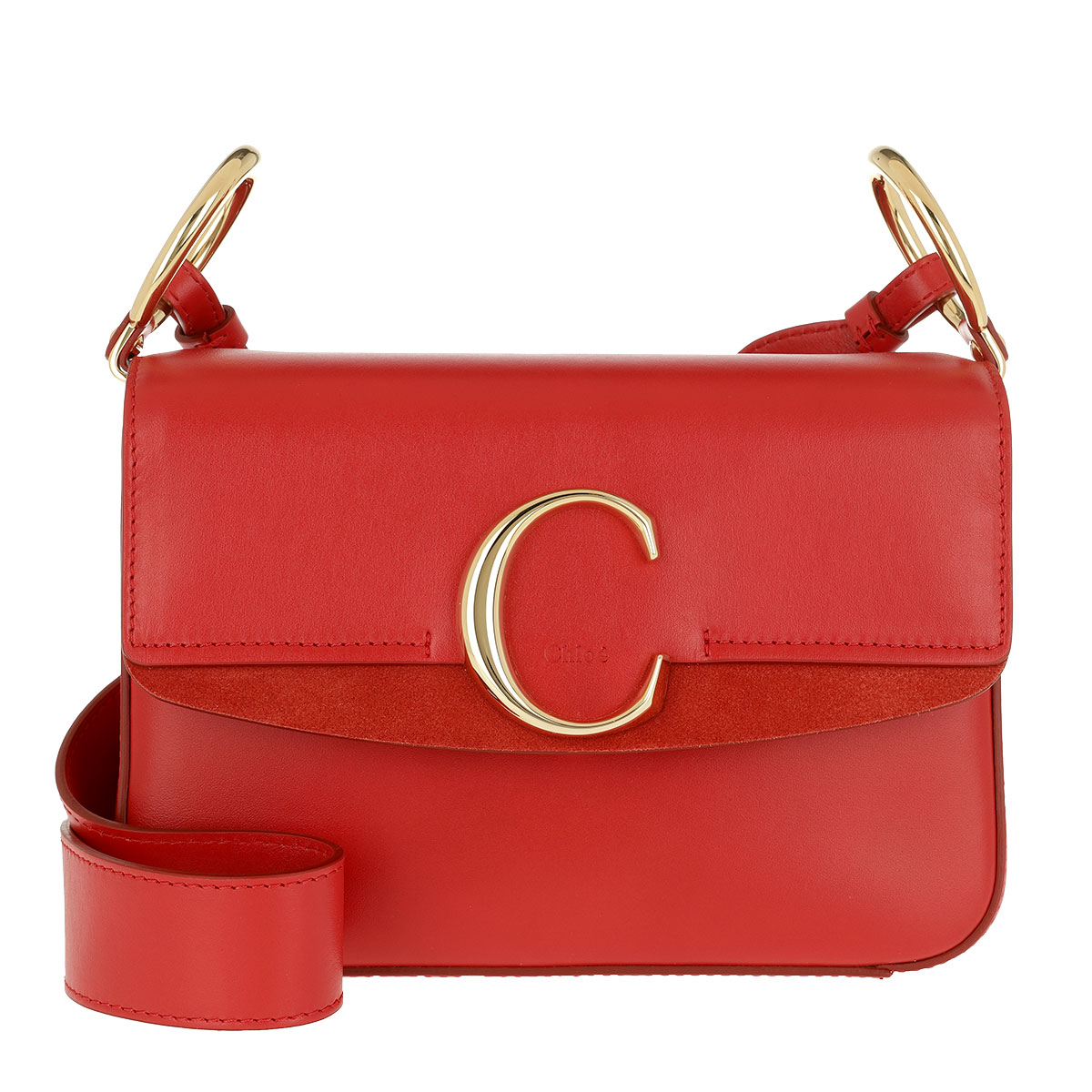 Chloé Satchel Bag - Double Carry Small Shoulder Bag Leather Plaid Red - in rot - für Damen
