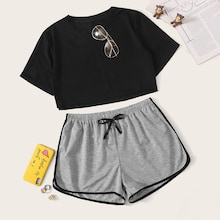 Crop Top With Contrast Binding Shorts PJ Set