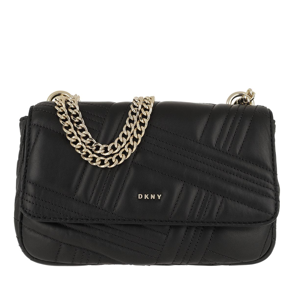 DKNY Umhängetasche - Allen MD Flap Shoulder Bag Black/Gold - in schwarz - für Damen