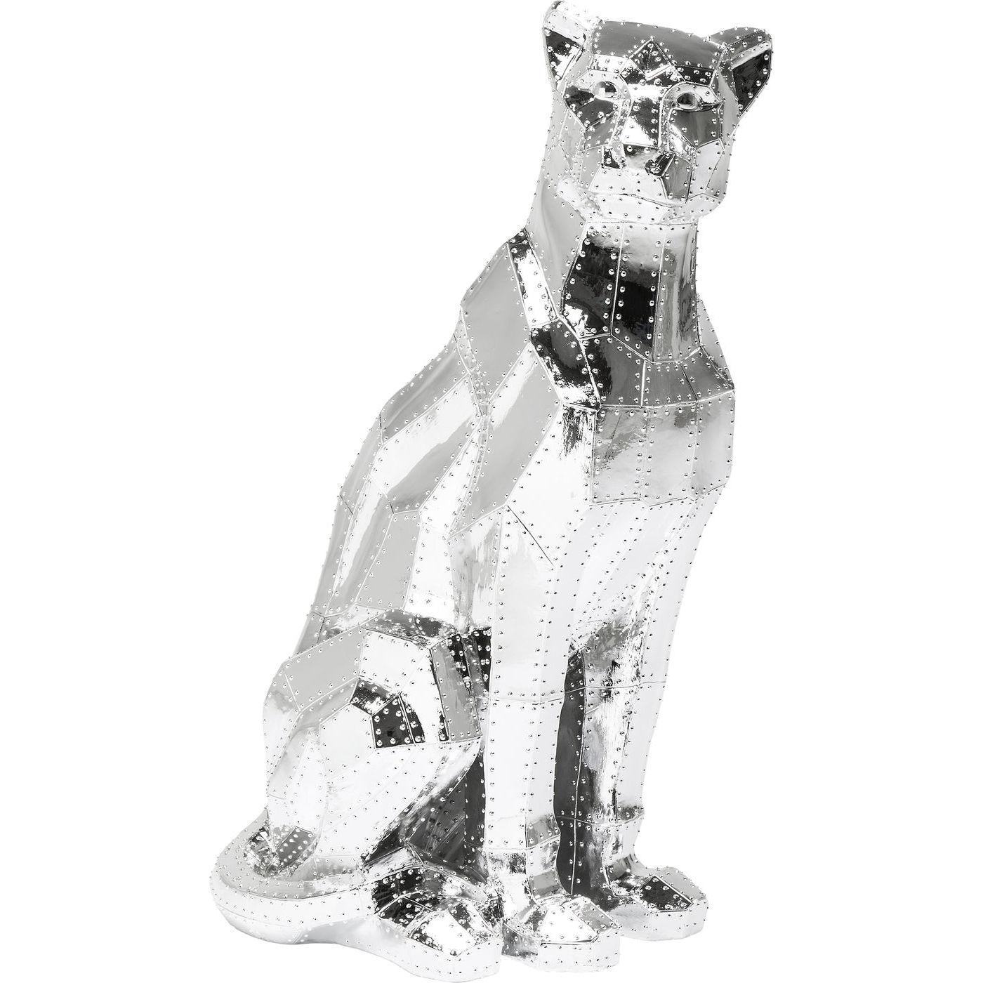 Deko Figur Sitting Cat Rivet Chrom