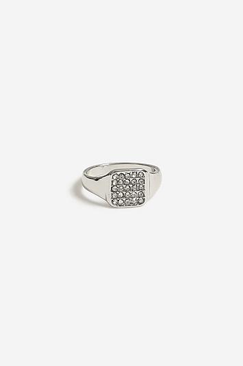 **Eckiger Ring mit Strass - Silber