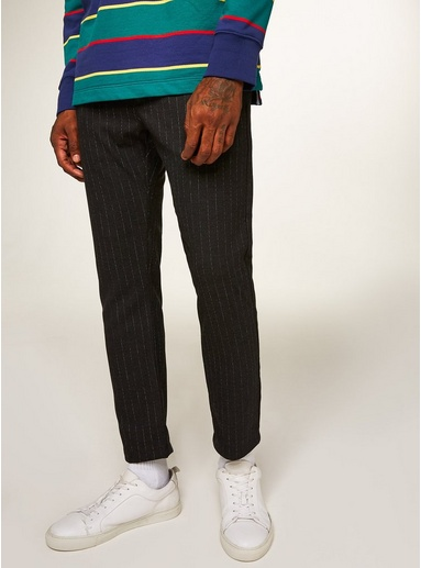 Eng geschnittene Hose mit Streifendesign, grau, GRAU