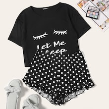 Eyelash & Letter Tee and Ruffle Trim Shorts PJ Set