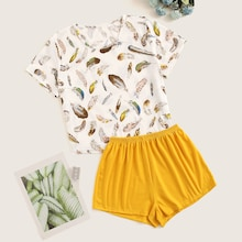 Feather Print Top & Shorts PJ Set
