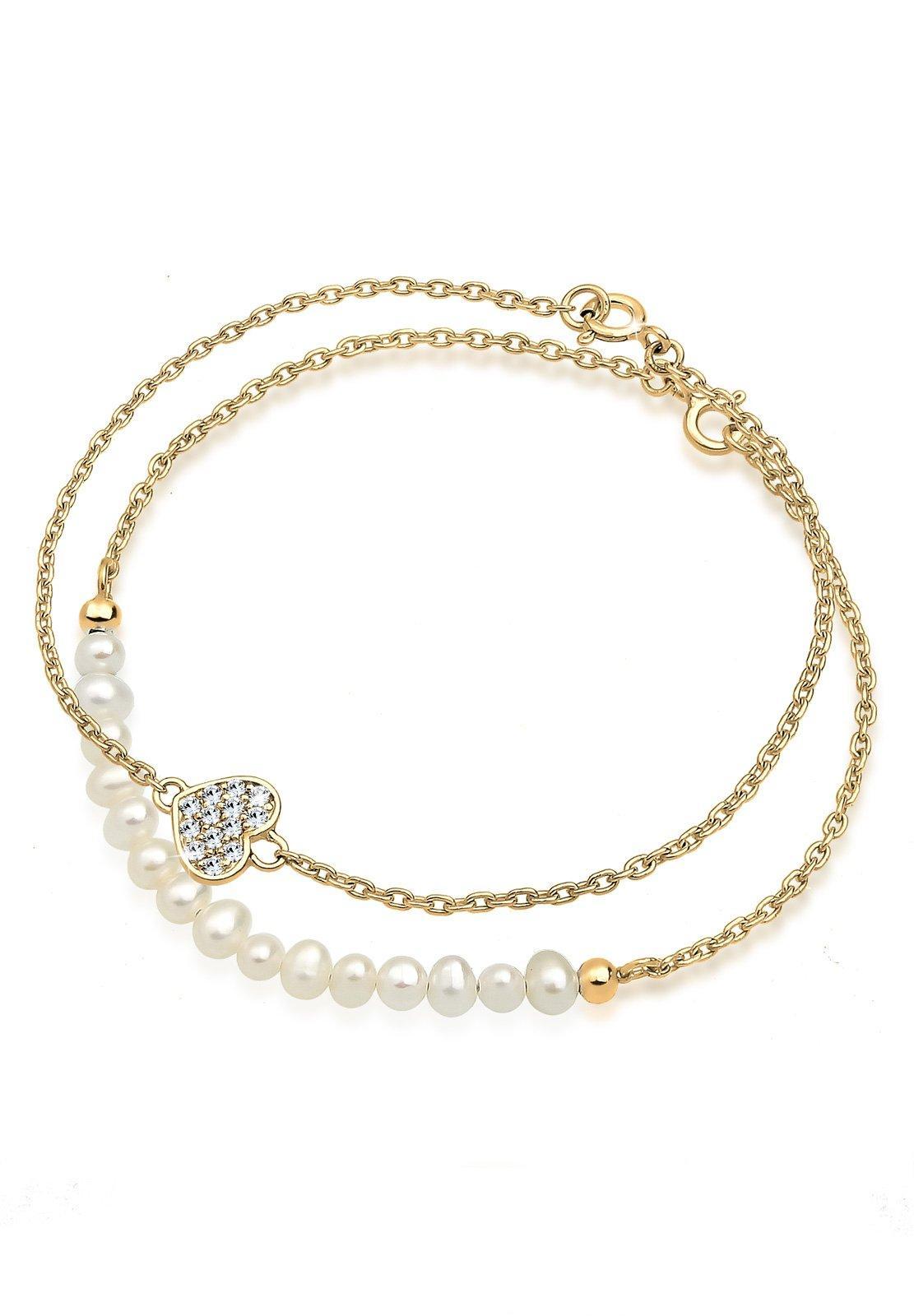 GOLDHIMMEL Perlenarmband Set Herz Layer Swarovski Kristalle Cute 925 Silber