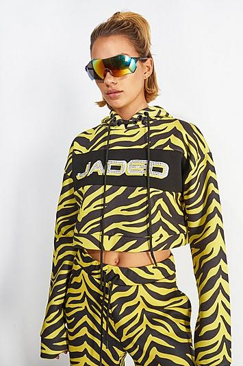 **Gelber Kapuzenpulli mit Zebra-Print von Jaded London