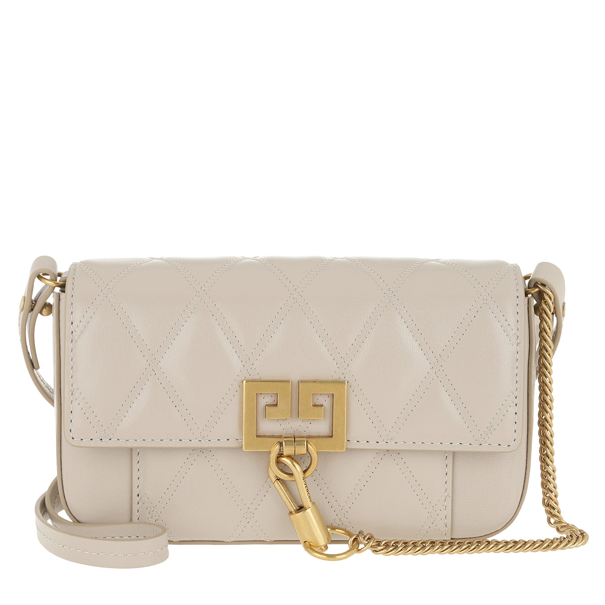 Givenchy Umhängetasche - Mini Pocket Bag Diamond Quilted Leather Natural - in grau - für Damen