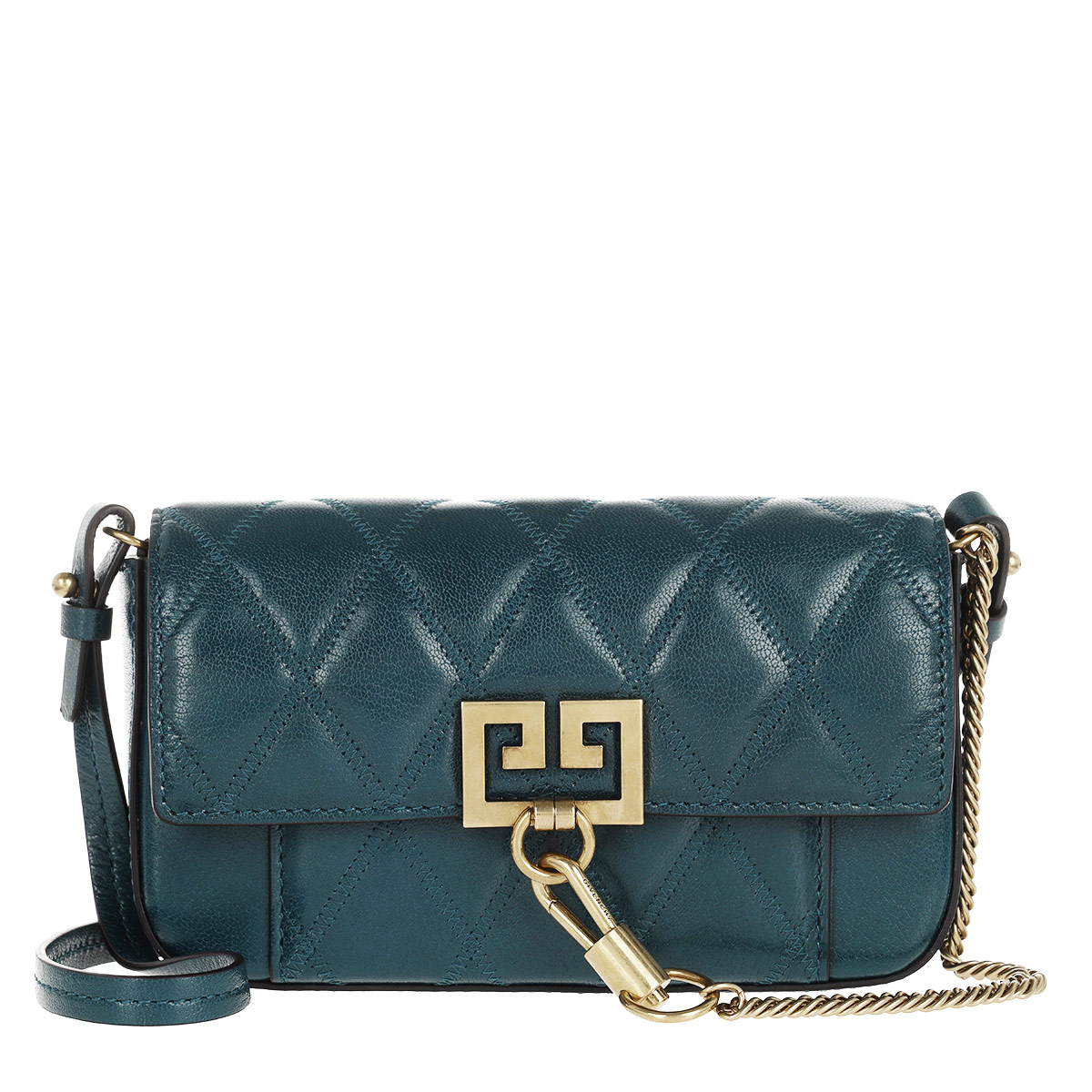 Givenchy Umhängetasche - Mini Pocket Bag Diamond Quilted Leather Prussian Blue - in grün - für Damen